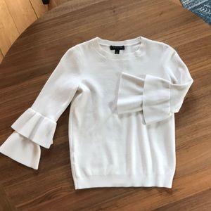 Ann Taylor Ruffle sleeve white sweater